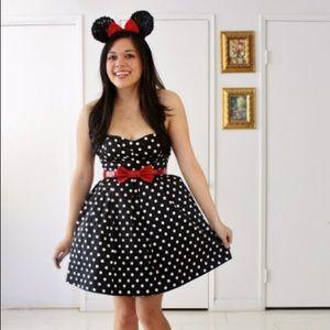 FREEBIRD Retro Black Polka Dot Fit+Flare Dress